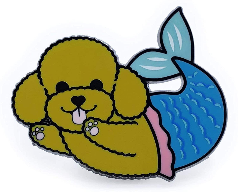 DOGGOFASHION Poodle Mermaid Enamel Pin For Jackets Hats Backpacks Decor