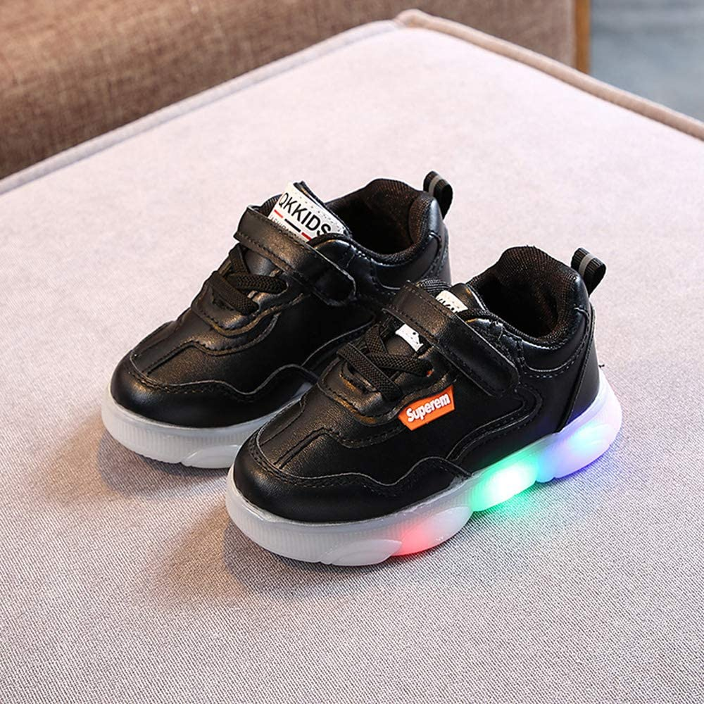 DFEDCLL Boys and Girls Glowing Light Board Shoes Toddler Children Running Leather Breathable Non-Slip Sports Casual Shoes,Black,22