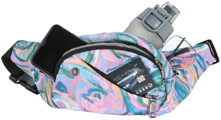 Water Resistant Fanny Pack with 4 Zipper Compartments Holds Water Bottle, Cute Waist Bag Plus Size for Travel Outdoor Holds iPhone X 8 plus, for Youths Adults with Iridescent Purple Painting