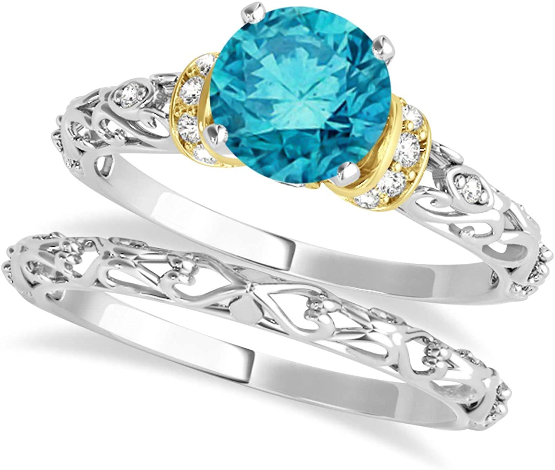 (0.87ct) 18k Two-Tone Gold Blue Diamond and Diamond Antique-Style Bridal Set