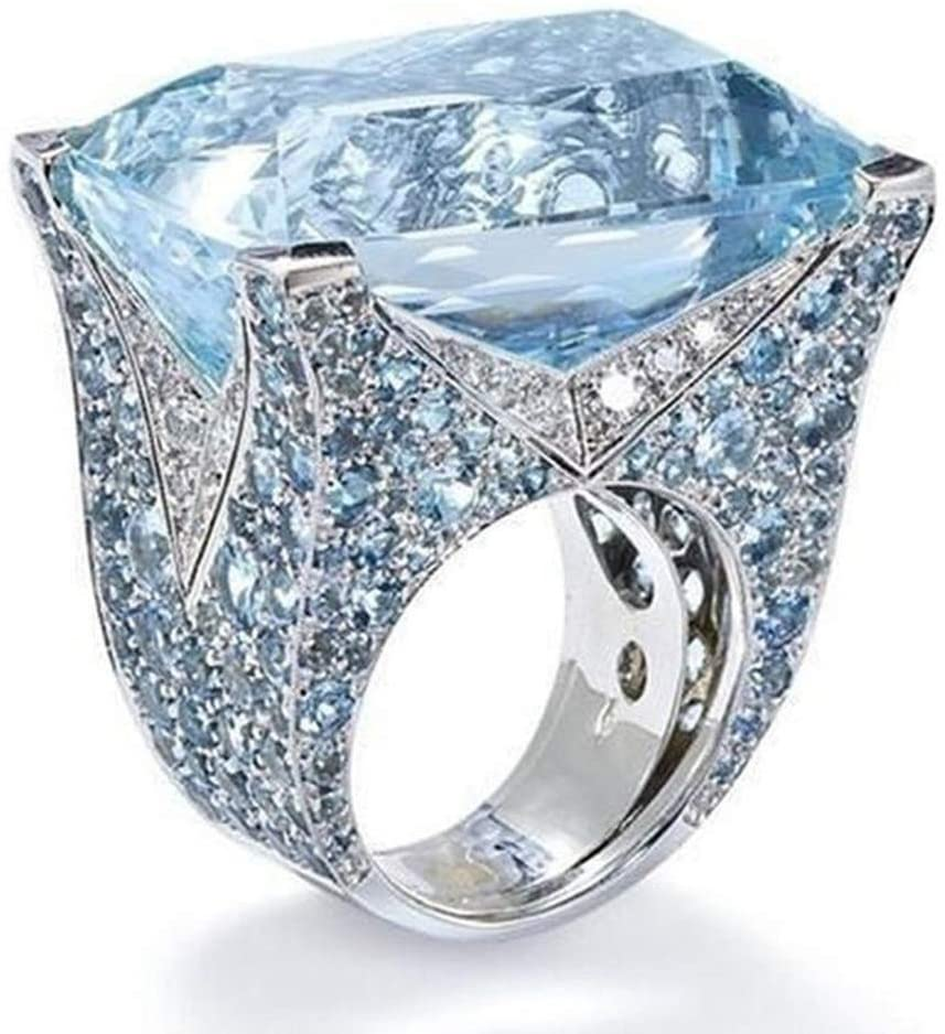 2019 New Exquisite Ring Sea Blue Sapphire Diamond Jewelry Cocktail Party Bridal Engagemen Valentine's Day Gifts for Girlfriend Boyfriend