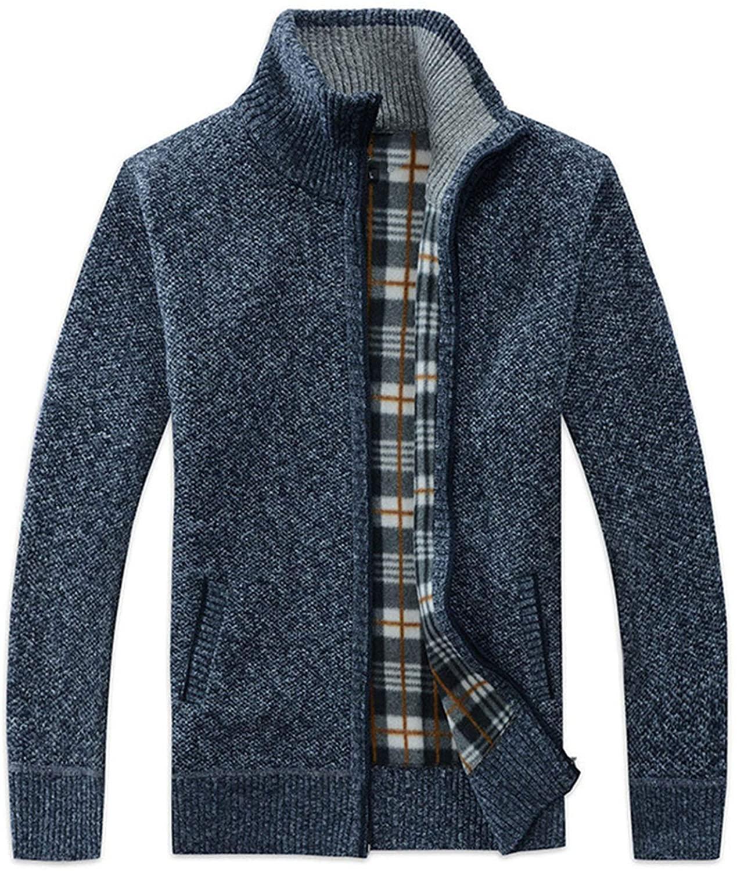 mcnxjcghsda Mens SweaterCoat Faux Fur Wool Sweater Jackets Men Zipper Knitted Thick Coat