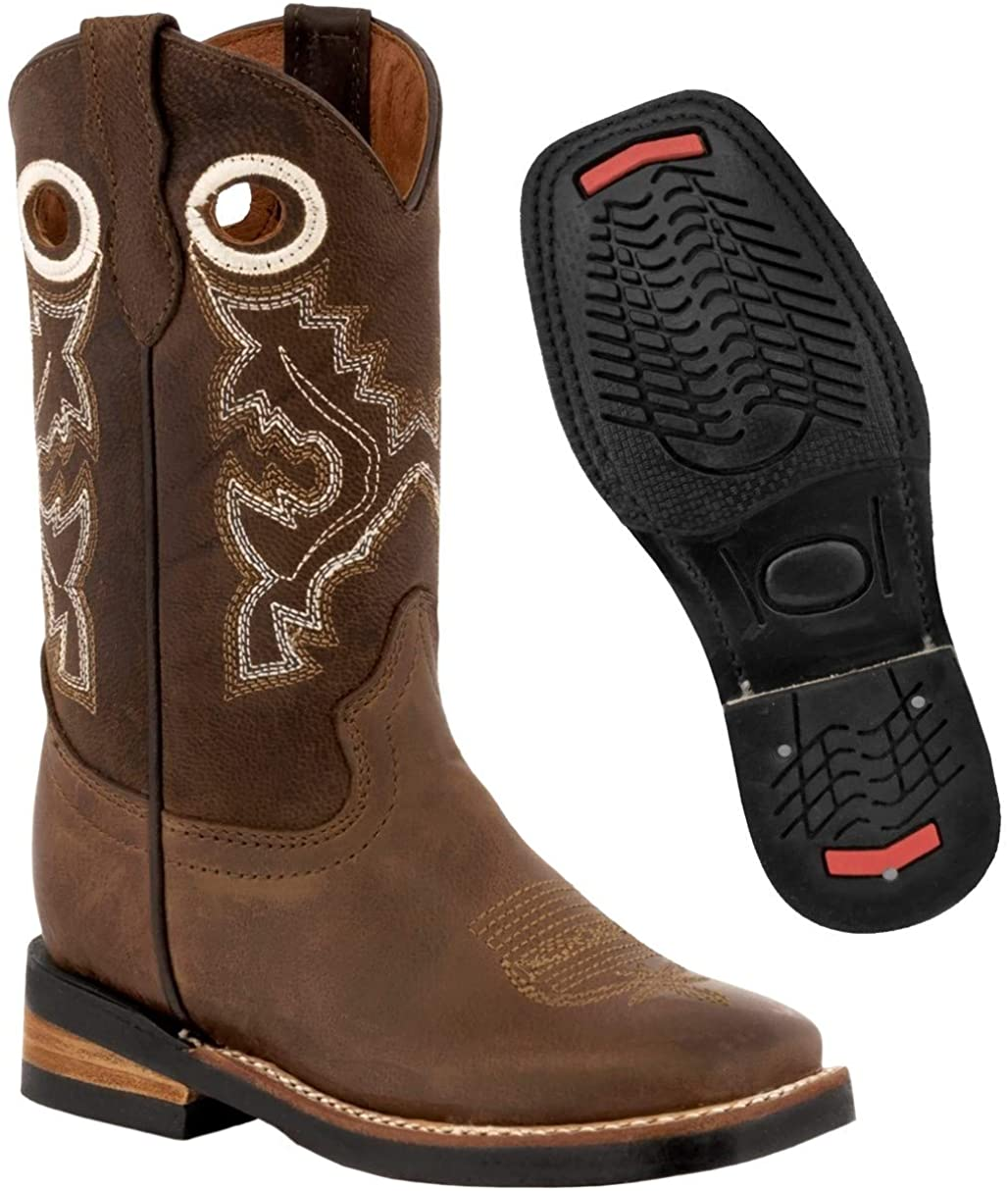 Kids Light Brown Western Cowboy Boots Pull On Leather Square Toe 9 Toddler
