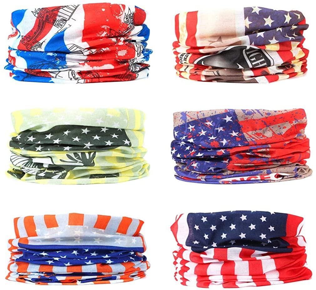 EAZZEA 6pcs Wide Tube Face Mask,Neck Gaiter, Headwear, Sports Scarf, US Flag Bandana, Balaclava, Headband for Women And Men
