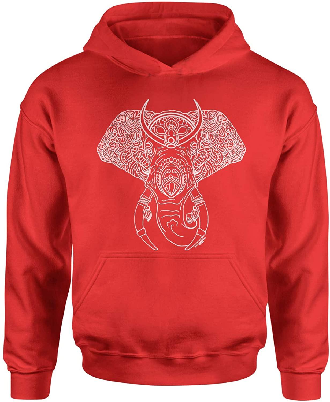 Expression Tees Elephant Animal Mandala Youth-Sized Hoodie