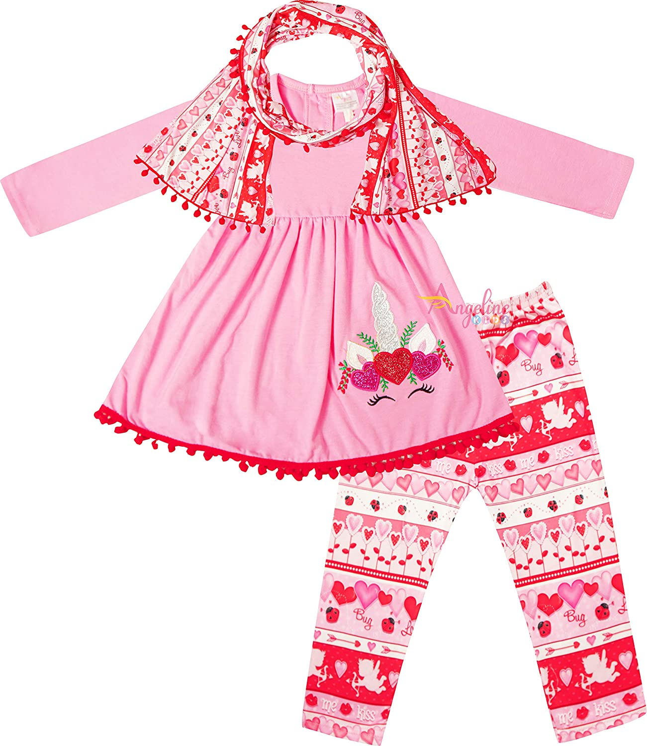 Little Girls Valentines Day Unicorn Top Leggings Scarf Outfit Pink 7/3XL