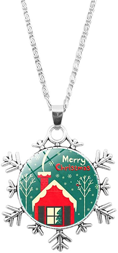 NicSO Green Christmas Tree Snowman Snowflake Pendant Necklace Time Gemstone Sweater Chain Jewelry