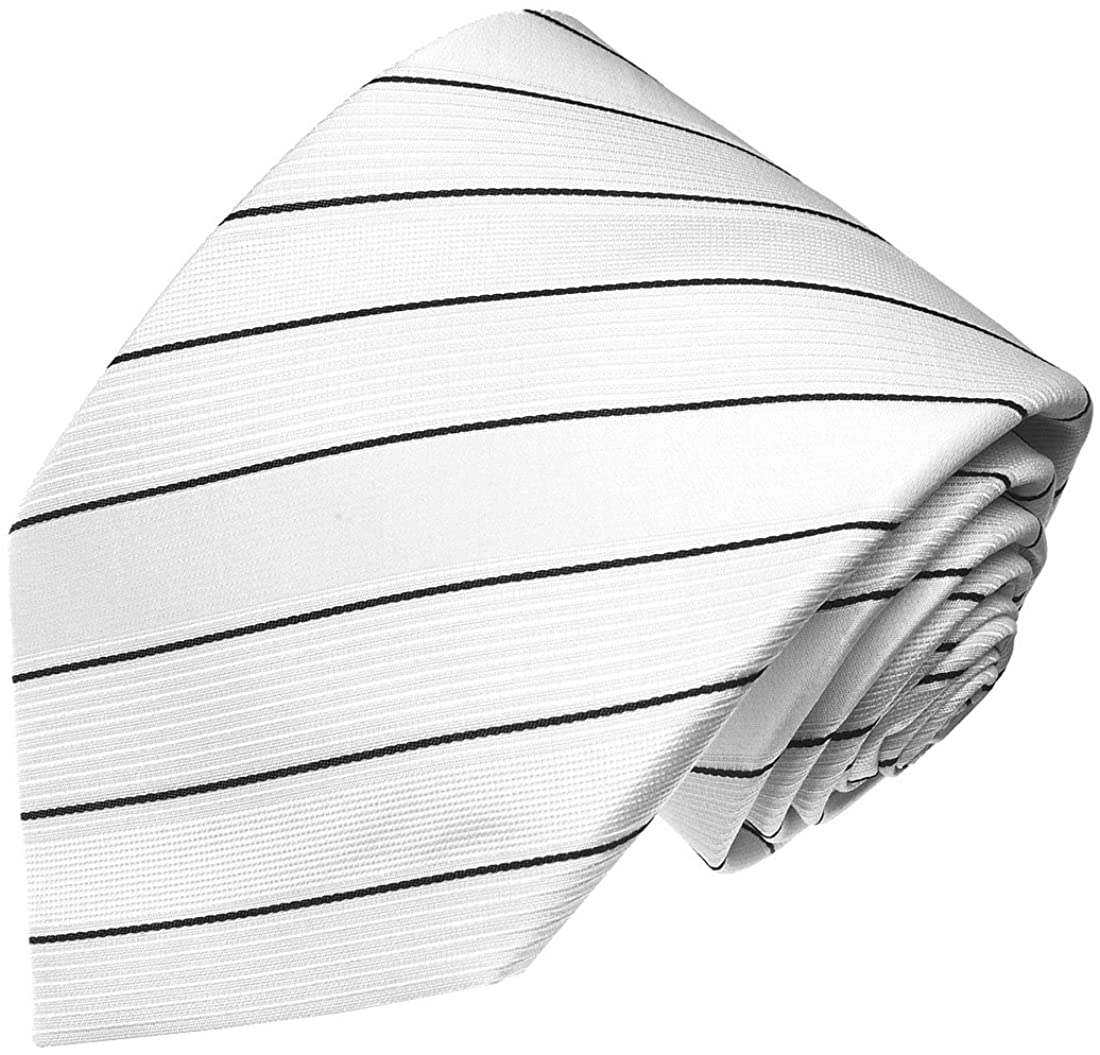 LORENZO CANA - Luxury Italian 100% Pure Silk Tie Jacquard Woven Necktie White Black Stripes - 84333