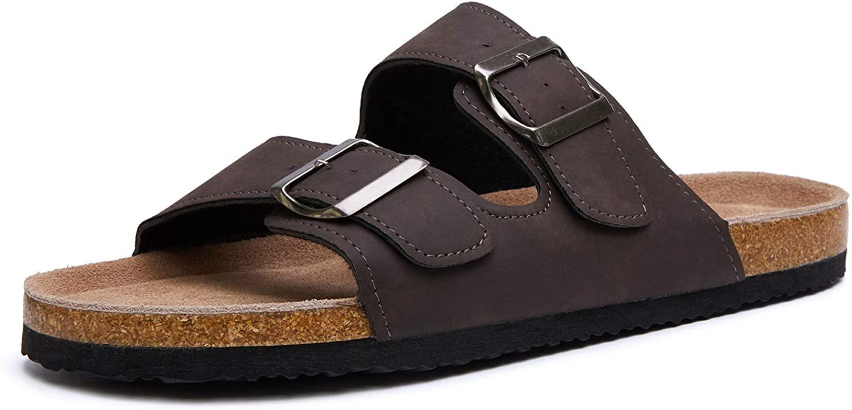 SEEKAVAN Men's Buckled Slide Sandal Slip-On Flat Sandal Cork Footbed Casual Slippers