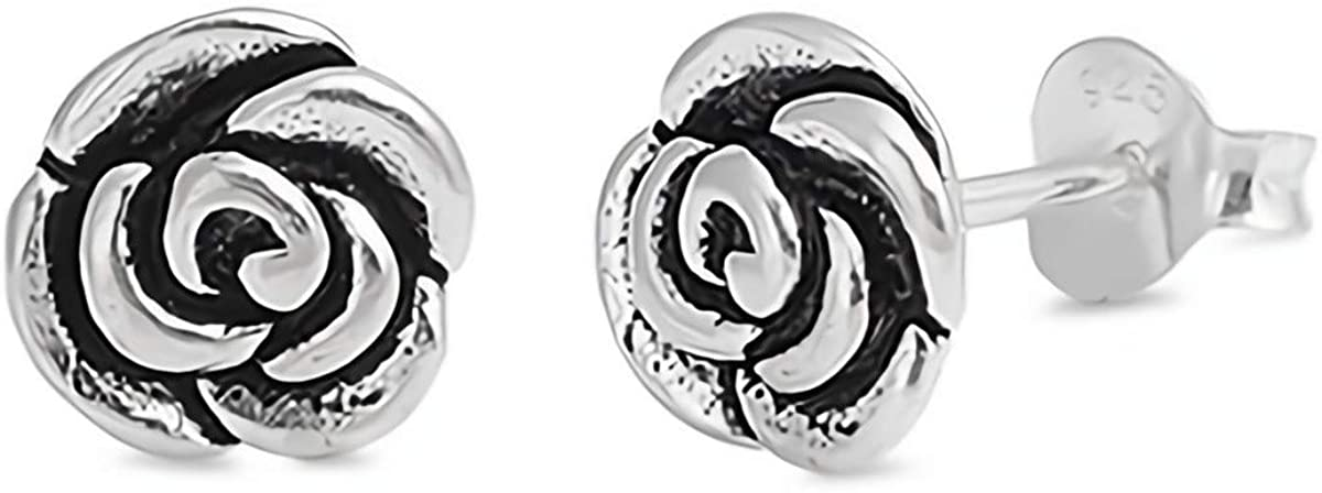 Glitzs Jewels 925 Sterling Silver Small Stud Earrings for Women and Girls (Rose)
