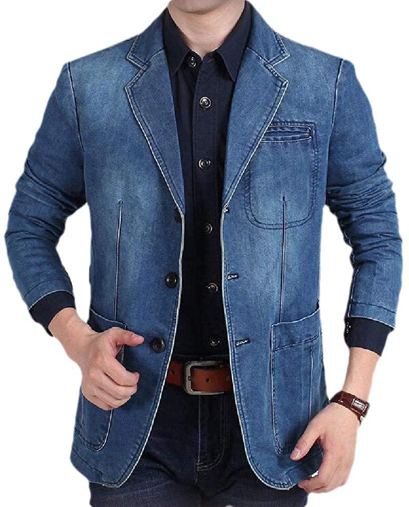 SELX Men Casual Loose Fit Lapel Plus Size Single Breasted Denim Blazer Jacket Suits Coat