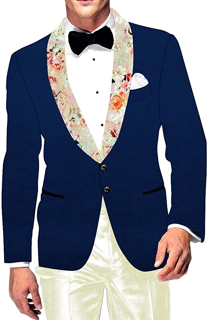 INMONARCH Mens Slim fit Casual Royal Blue Velvet Blazer Sport Jacket Coat Printed Shawl Collar VB15403