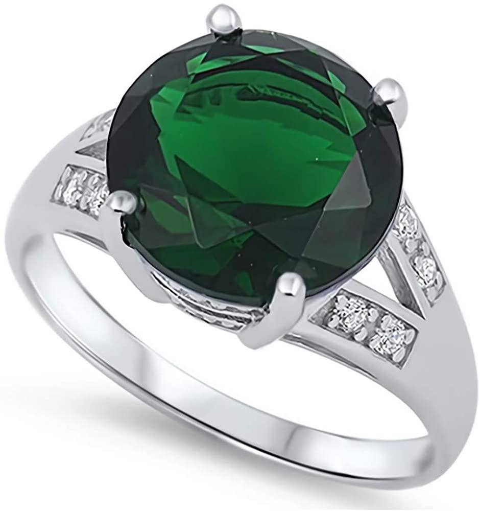 Glitzs Jewels 925 Sterling Silver CZ Ring (Green & Clear) | Cubic Zirconia Jewelry Gift