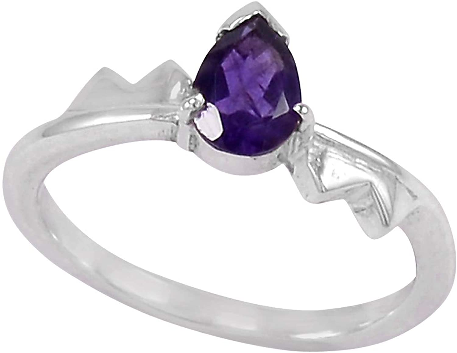 February Birthstone Amethyst Handmade Jewelry Manufacturer 925 Sterling Silver Jaipur Rajasthan India Solitaire New Ring