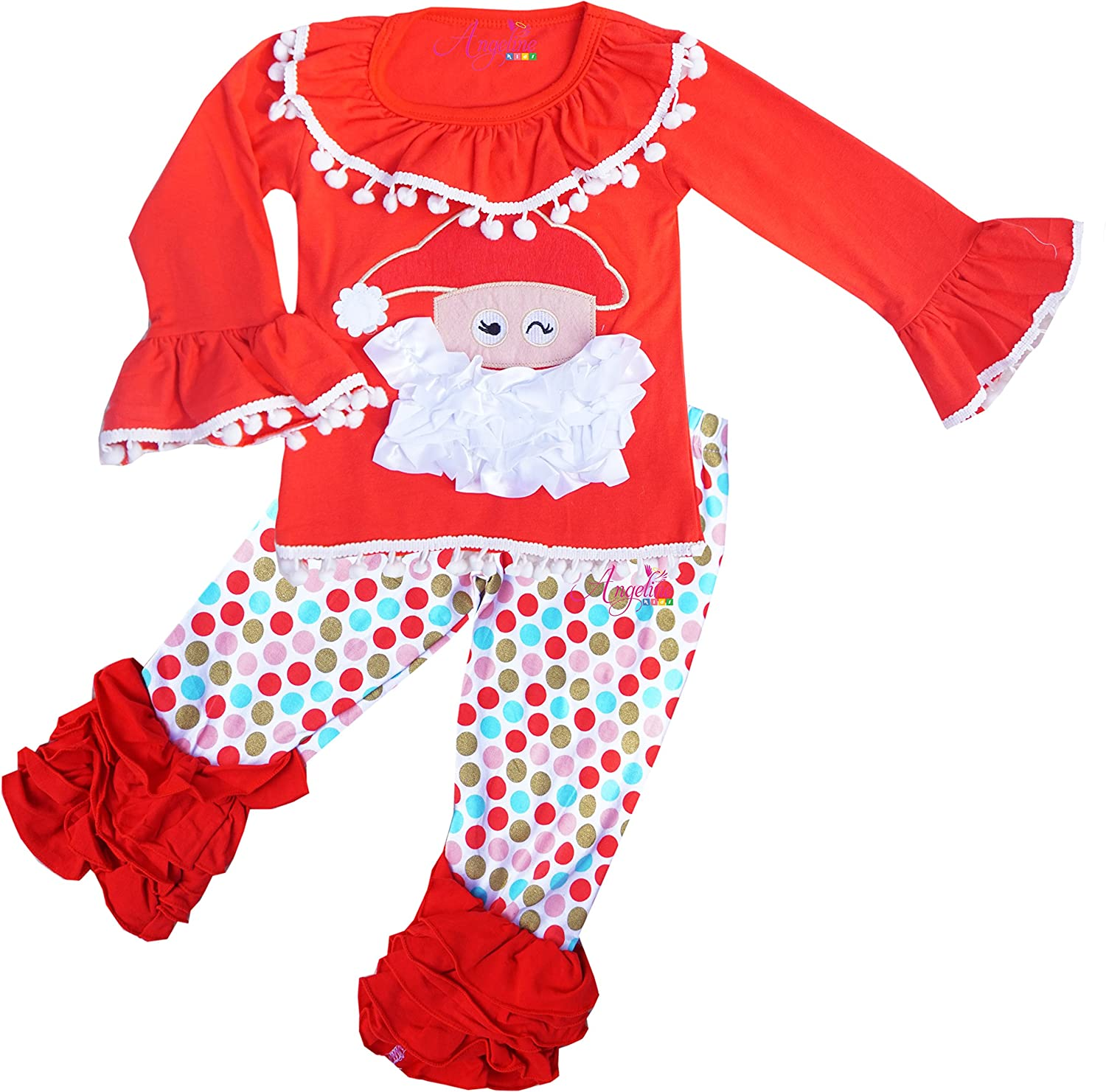 Girls Boutique Clothing Holiday Christmas Santa Clothing Set 7