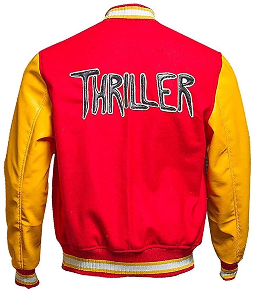 Red MJ Thriller Jacket - M Logo Letterman Michael Jackson Varsity Jacket Men