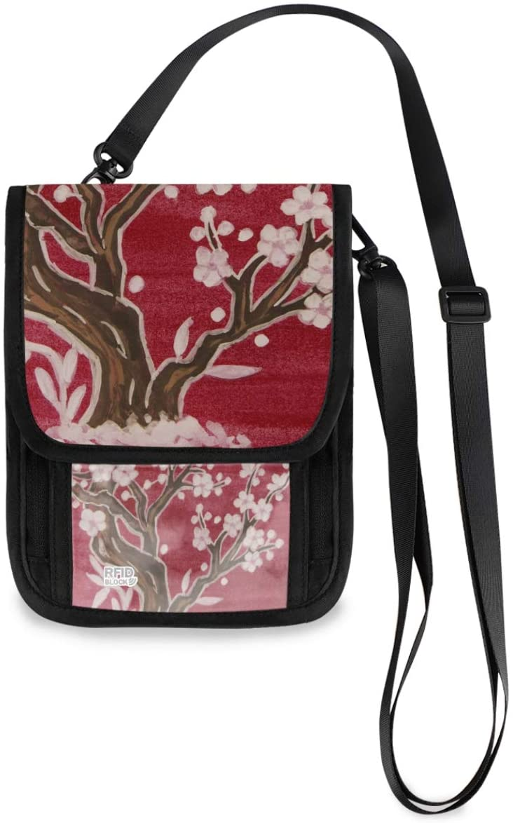 Travel Neck Wallet Neck Pouch - White Tree In Blossom Passport Holder with RFID Blocking for Woman Man Lightweight Travel Pouch