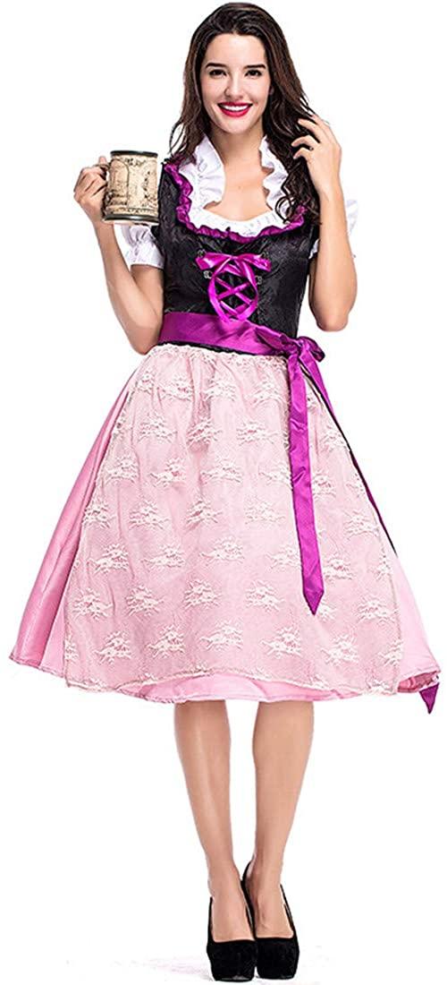 Women German Beer Carnival Purple Pink Beer Costume Party Carnival Cosplay Dress