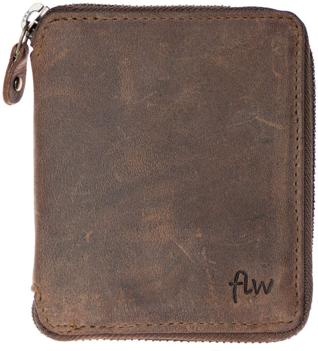 Small Genuine Leather Wallet With Metal Zipper Around