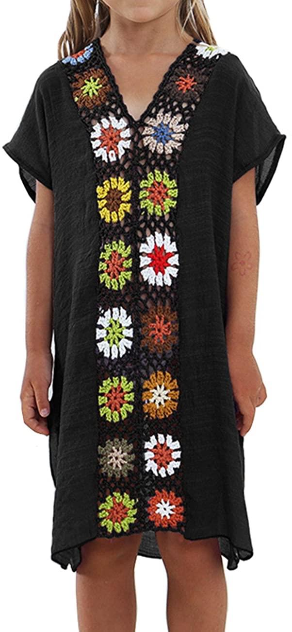 Baonmy Kids Girls Swimsuit Beach Cover Up Tunic Top Crochet V-Neck Swim Dress for Women