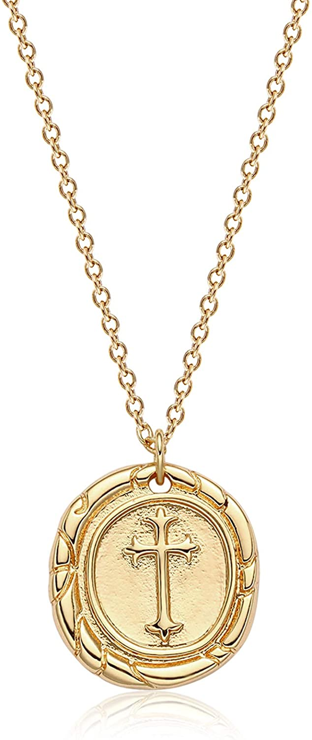 VACRONA Coin Necklace 18k Gold Plated Vintage Textured Medallion Coin Pendant Round Circle Disk Dainty Necklace for Women
