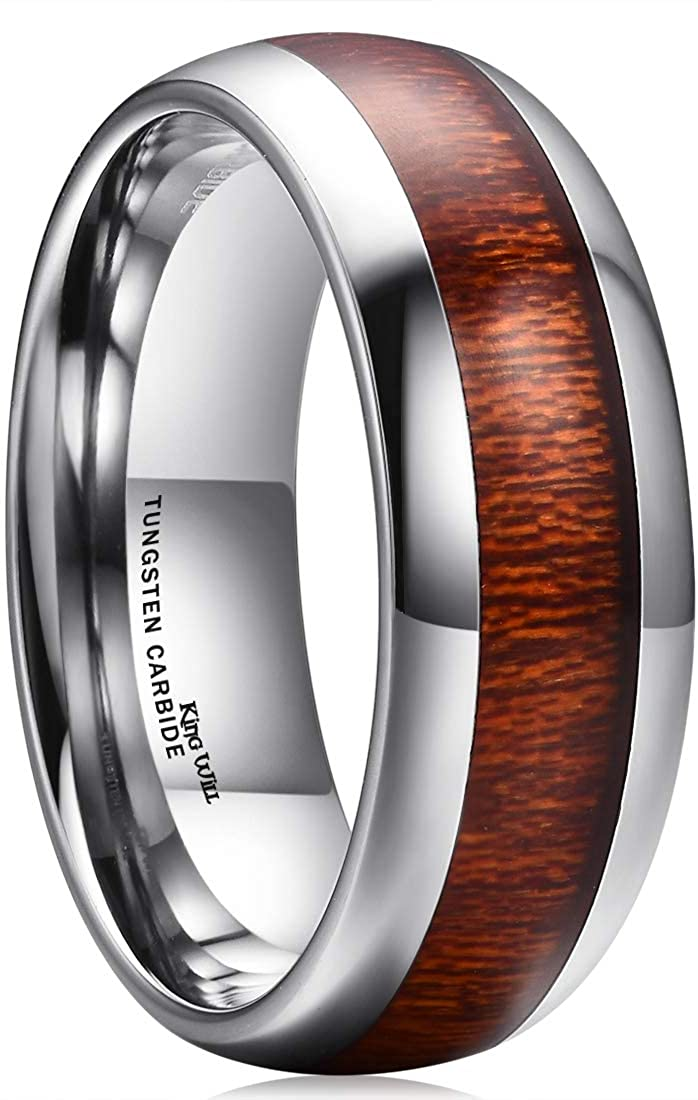 King Will Nature 8mm Domed Koa Wood Tungsten Carbide Ring Wedding Band Polished Finish Comfort Fit