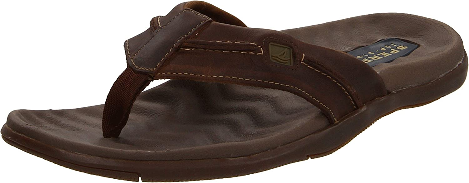 Sperry Top-Sider Mens Double Marlin Sailboat Thong,Brown/Olive,US