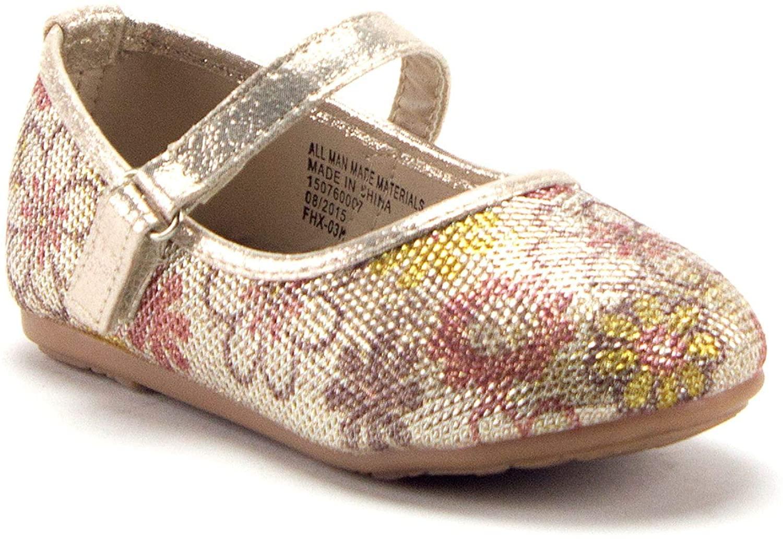 Jazamé Baby & Toddler Girls' Mary Jane Embellished Floral Print Flats Shoes
