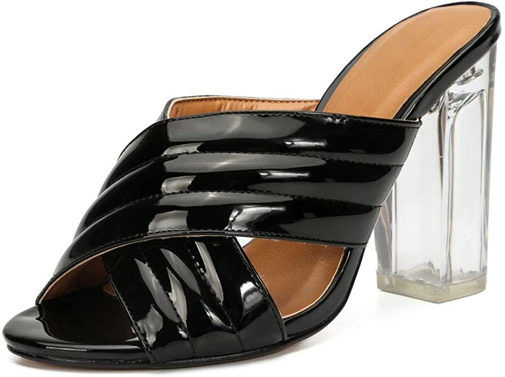 Unisex Men's Women's Mules Cross Strap Crystal Block High Heel Slide Sandals