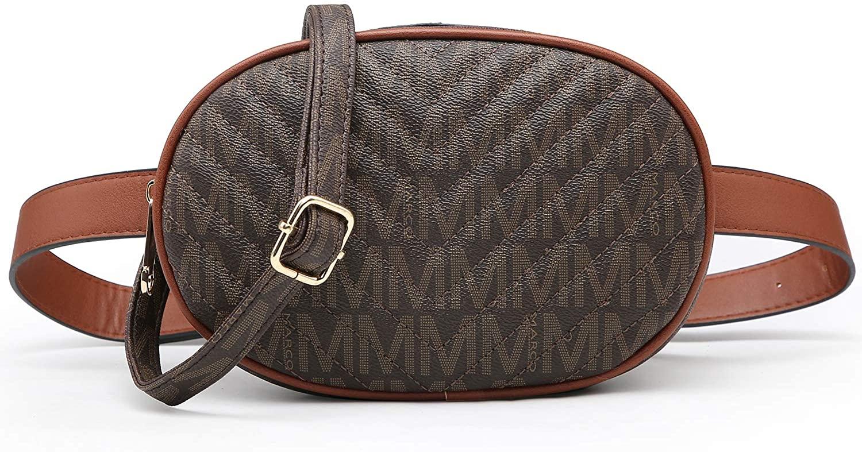 MKP Women Signature Fashion Waist Packs Pouch Cellphone Wallet Small Travel Crossbody Shoulder Bag W/Double Zipper Pockets