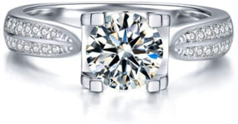 SuperShineGems Moissanite Ring Engagement Ring, 14k White Gold Engagement Ring, 6.50mm GH Round Moissanite Engagement Ring Engagement Ring Moissanite