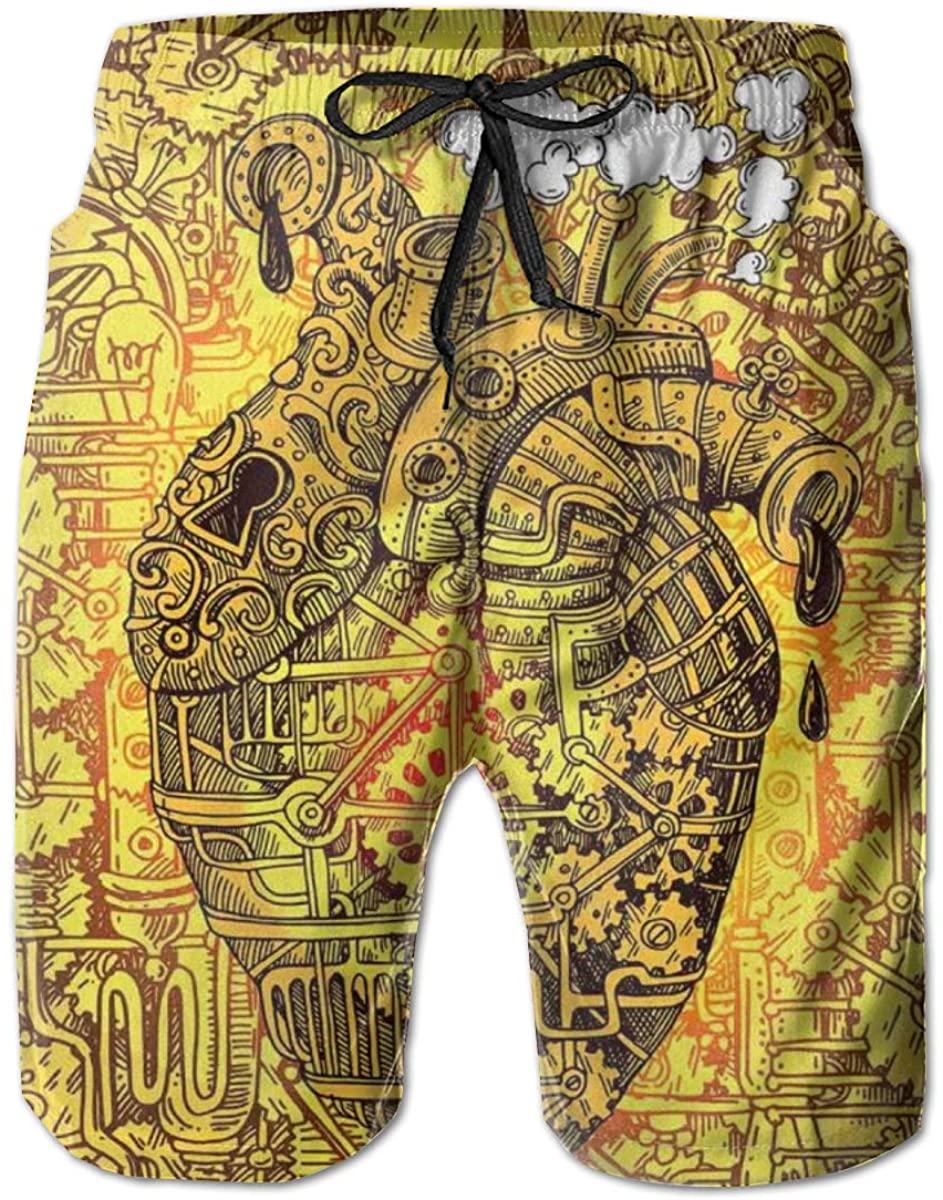 GULTMEE Men's Swim Trunks Quick Dry Beach Shorts Mechanical Factory Heart Image with Running Machinery Print M