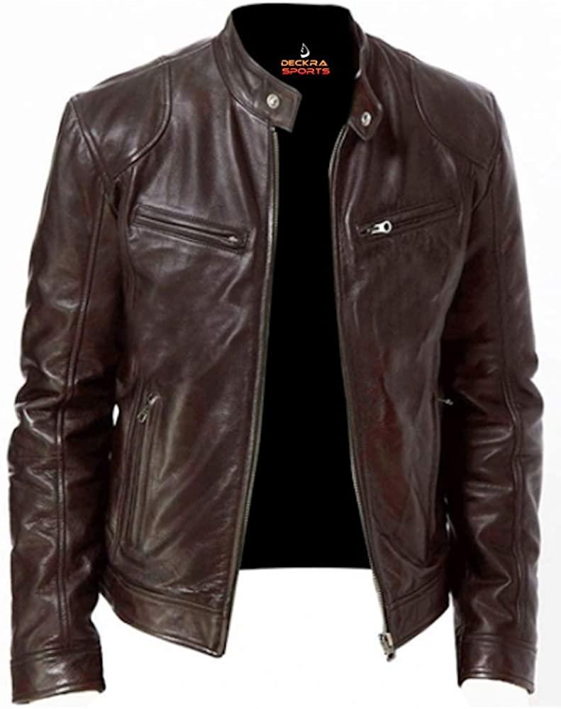 Mens Genuine Leather Jacket Cowhide Motorbike Motorcycle Moto-Jacket Real Leather Brown