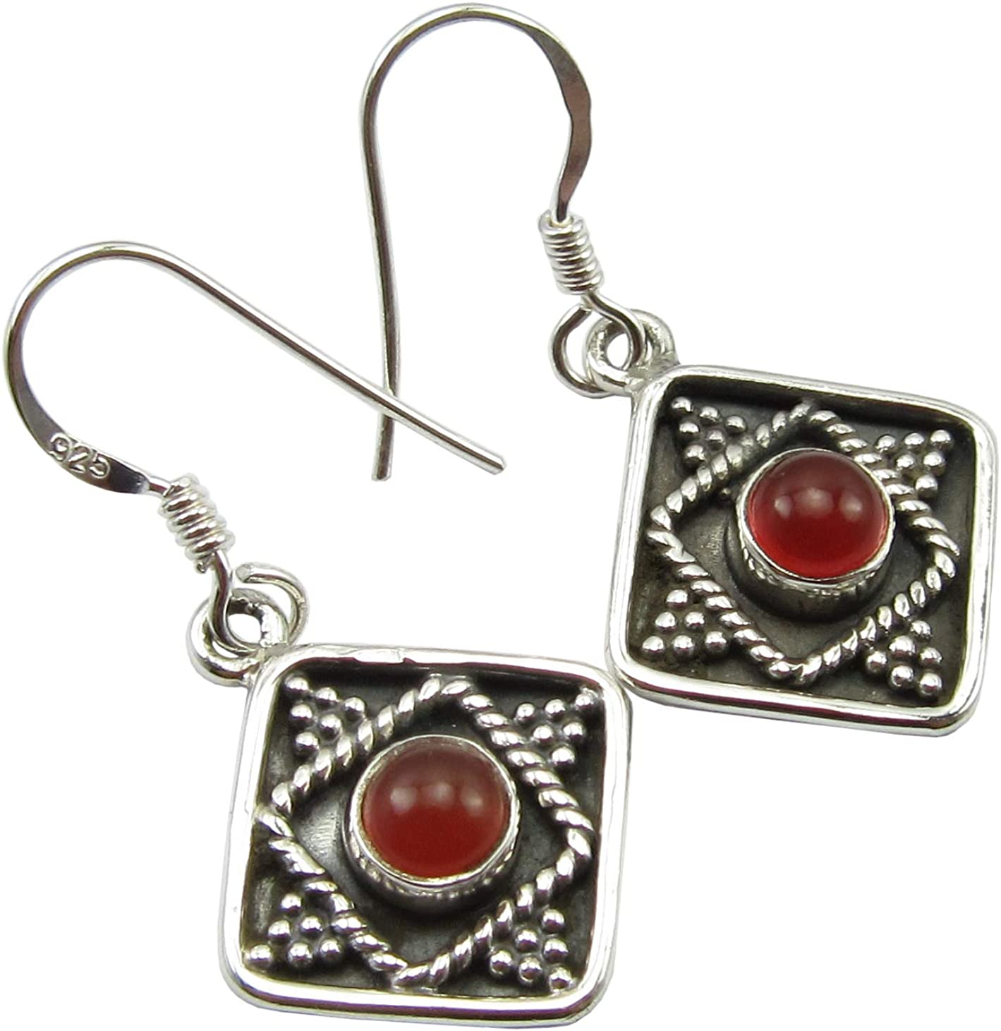 SilverStarJewel Red Carnelian Dangle Earrings 1.3