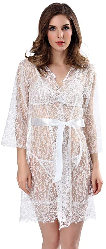 YUXO Perspective Lingerie Sexy Bodysuit Long Sleeve Chemise See Through Nightie with Ribbon Belt White S-2XL