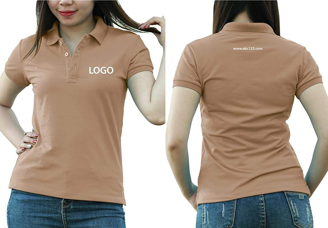 Add Custom Personalize Your Logo Text. Embroider On Polo & T-Shirt with Multi Sides – Sizes - Colors. Pack of 10 Coffee