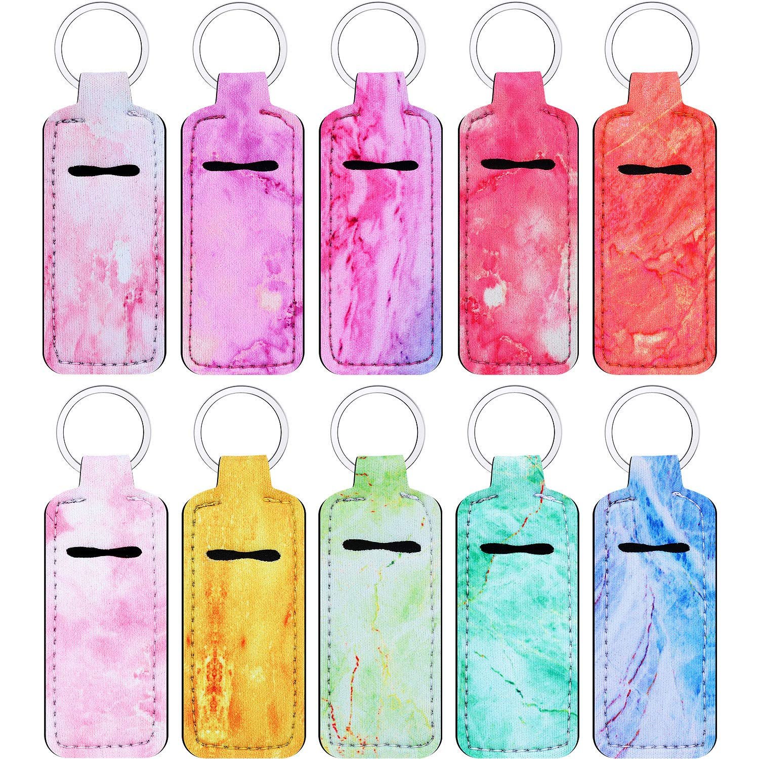 10 Pieces Chapstick Holder Keychains Clip-on Chapstick Sleeve Pouch Lipstick Holder Keychain Lip Balm Holder Key Chain with Marble Pattern for Travel Accessories, 10 Colors(Rectangle Style)