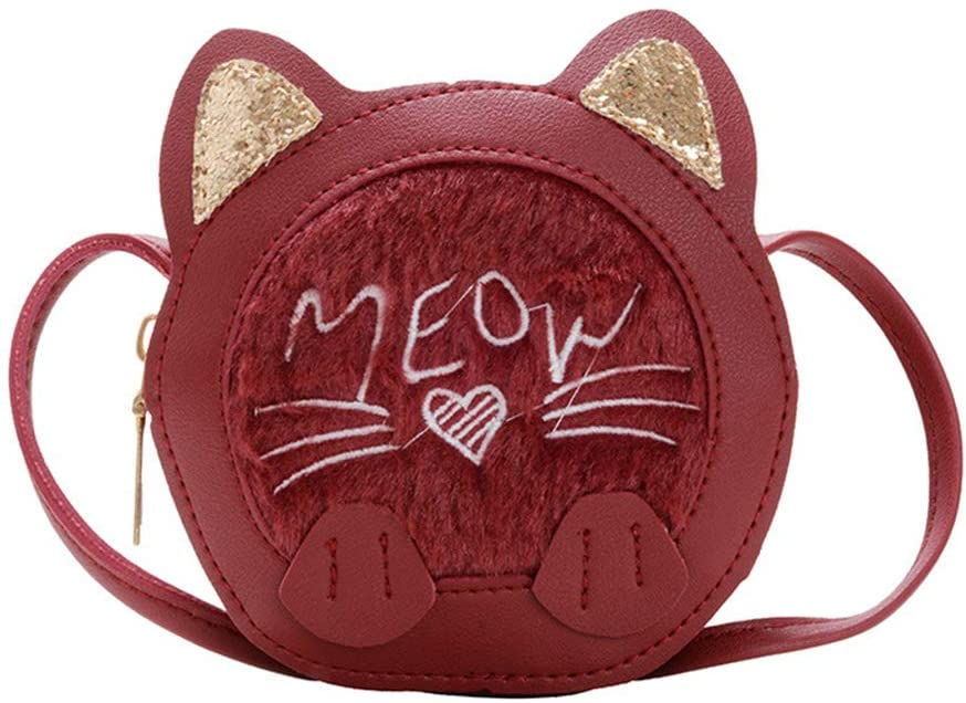 Cat Purse for Little Girls Sequin Ears Toddlers Crossbody Bag Crossbody Purse for Kids Gift (Red)