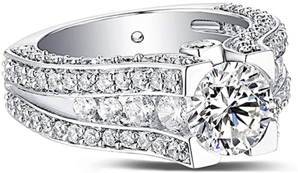 AILIN 925 Sterling Silver Engraved Gemstone Exclusive Bridal Ring Zircon Gemstone Swarovski Stone Engagement Rings