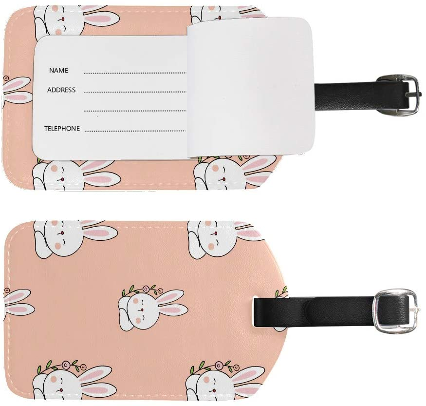 JOINFINE Luggage Tags, PU Leahter Luggage Tags Privacy Protection Travel Bag Labels Suitcase tags,Cartoon Cute Rabbit(1pcs)