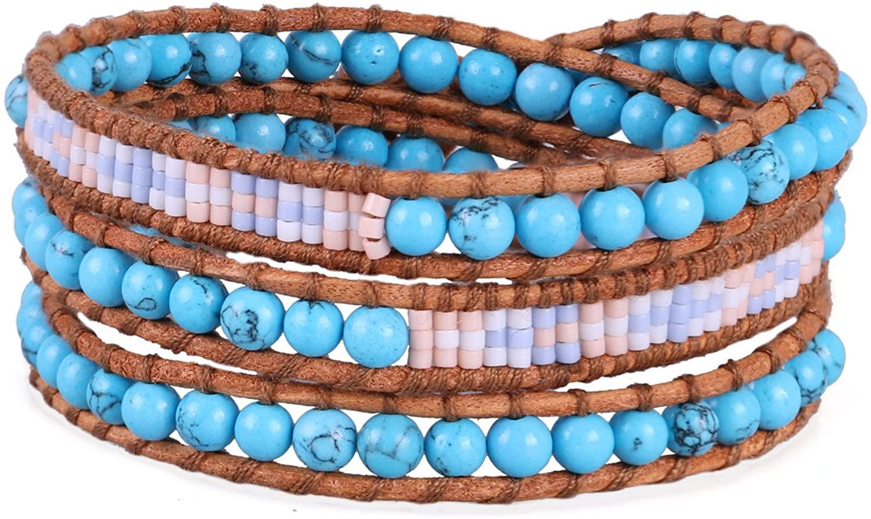 KELITCH Turquoise Beads 3 Wrap Bracelet Handmade Miyuki Beads Bracelets Leather Bracelets