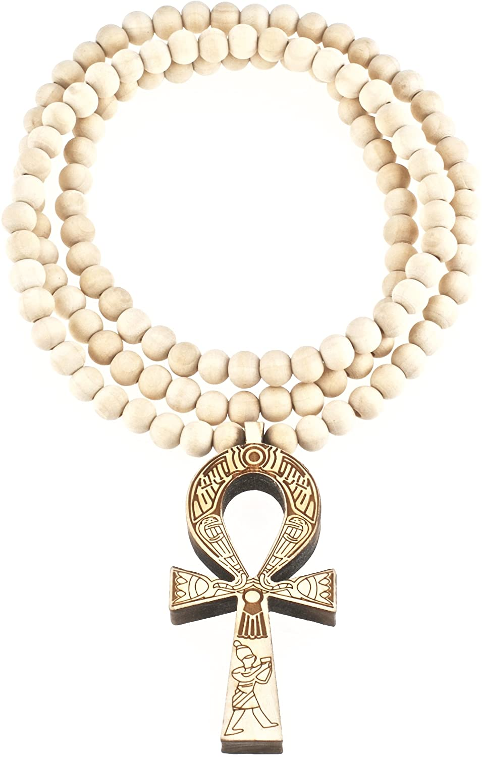 GWOOD ANKH Pendant Wood with 36 Inch Long Bead Necklace