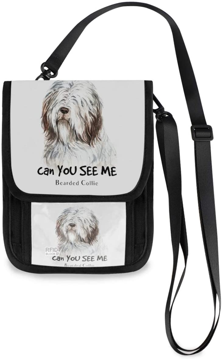 Travel Neck Wallet Neck Pouch - Bearded Collie Dog Passport Holder with RFID Blocking for Woman Man Lightweight Travel Pouch