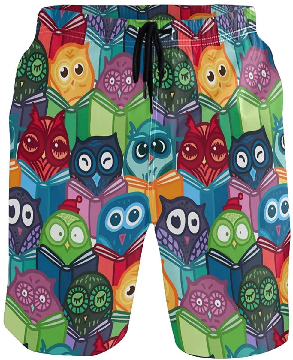Mens Swim Trunks - Cartoon Owls Pattern Beach Short Men Quick Dry Swimming Trunks for Men