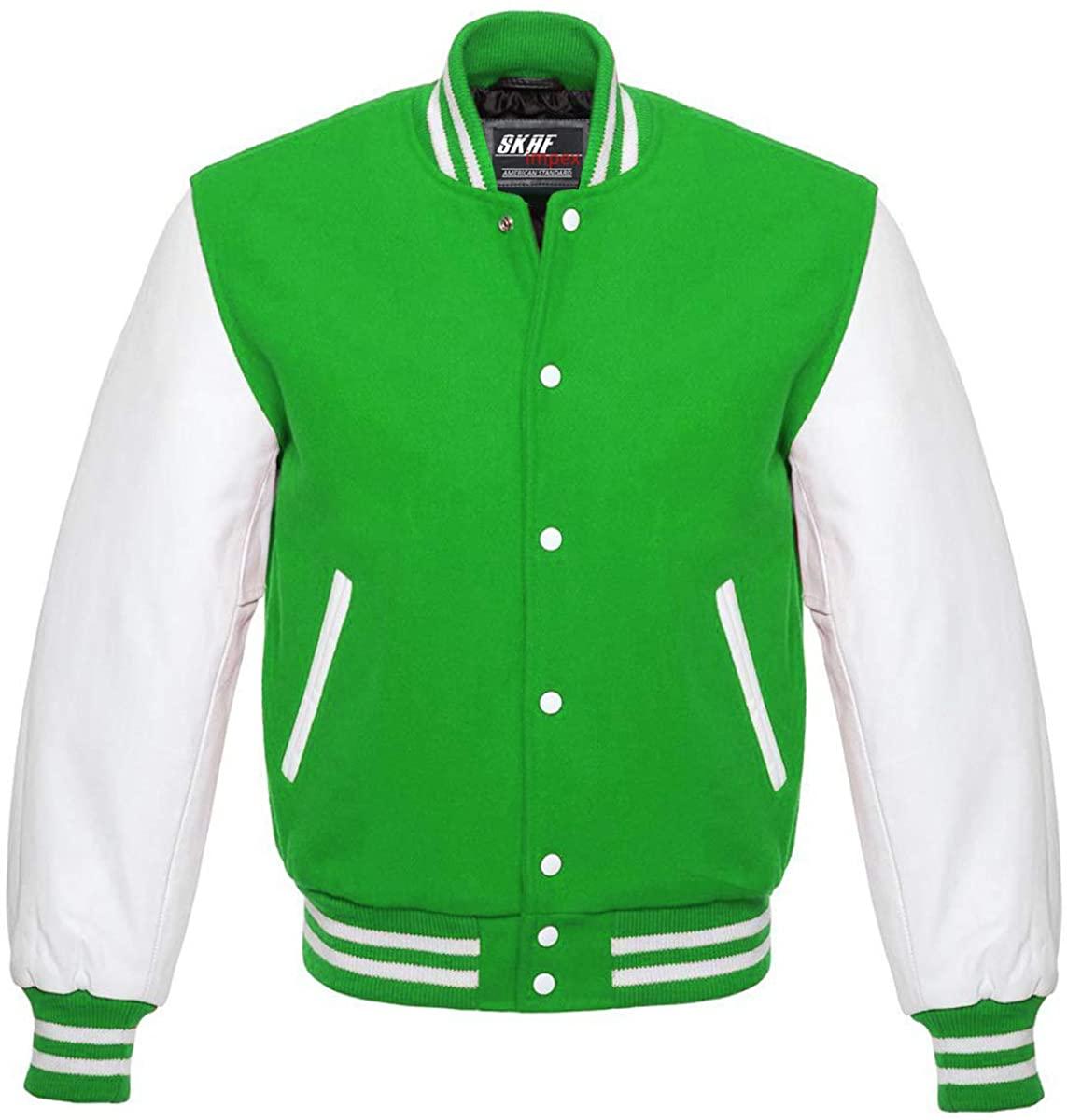 Skaf Impex Mens Letterman Baseball Football Basketball Varsity Jacket Wool Body & Real Leather Sleeves Kelly/White