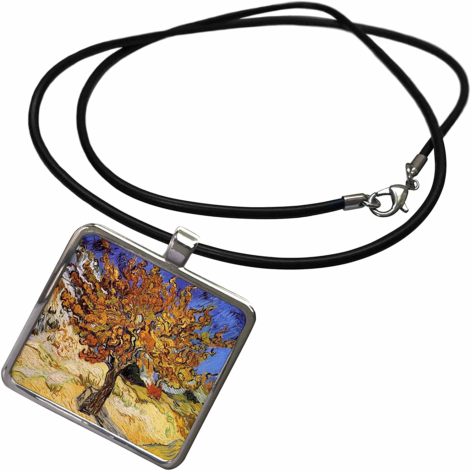 3dRose Florene Impressionism Art - Van Gogh Mulberry Tree - Necklace with Rectangle Pendant (ncl_48249)