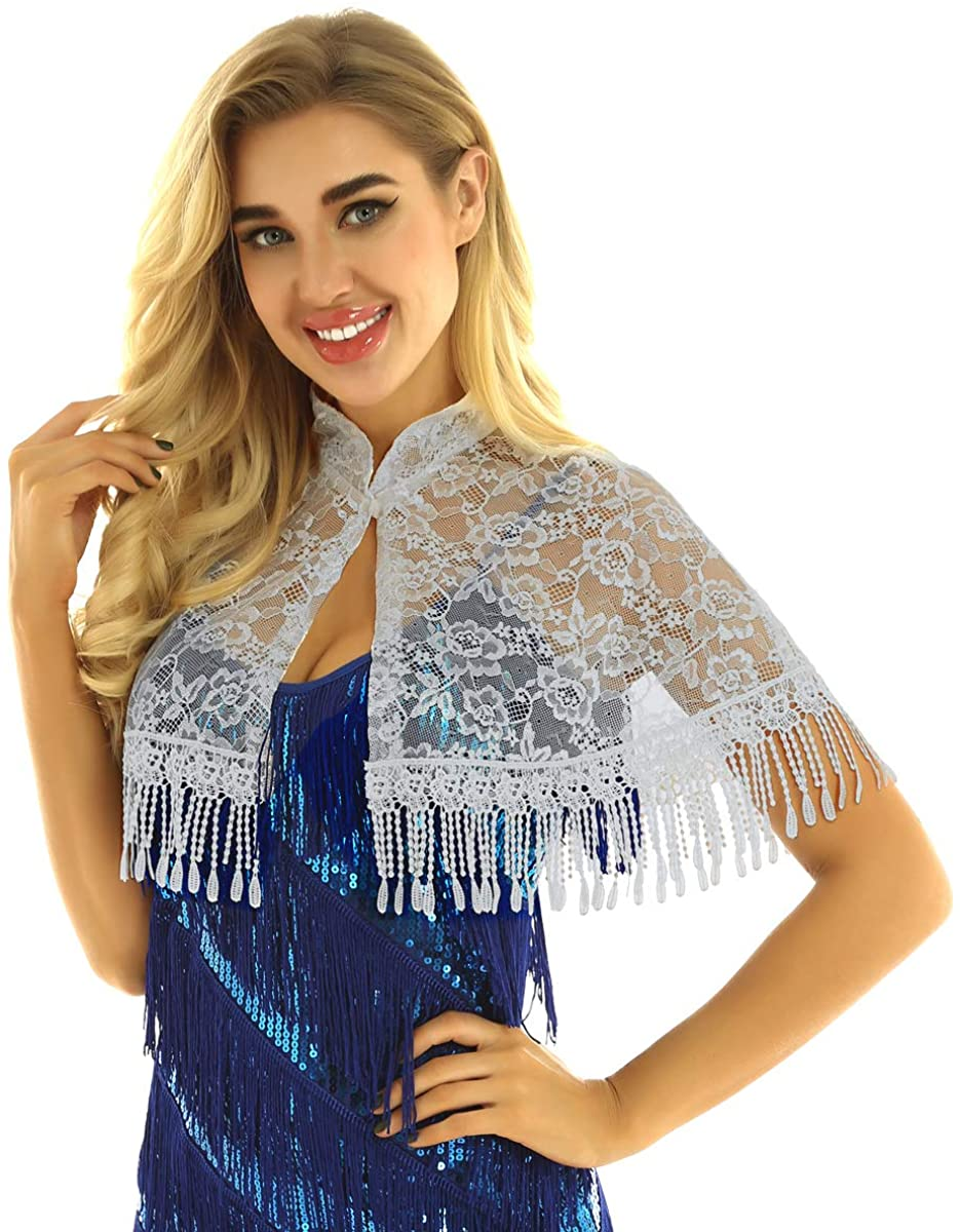 ACSUSS Womens Lace Sheer See Through Open Front Bridal Shawl Wrap Shrug with Fringe Tassels