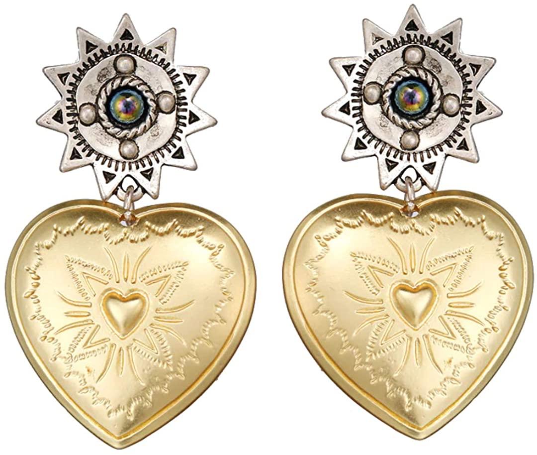 Baroque Heart Dangle Drop Medium Size Earrings Classic Fashion For Woman Girl Trendy Charm Vintage Gift Earrings