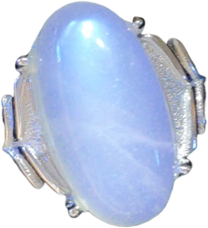 Genuine Natural Moonstone Blue Light Clear Oval Bead Adjustable Ring 16x10mm AAAAA