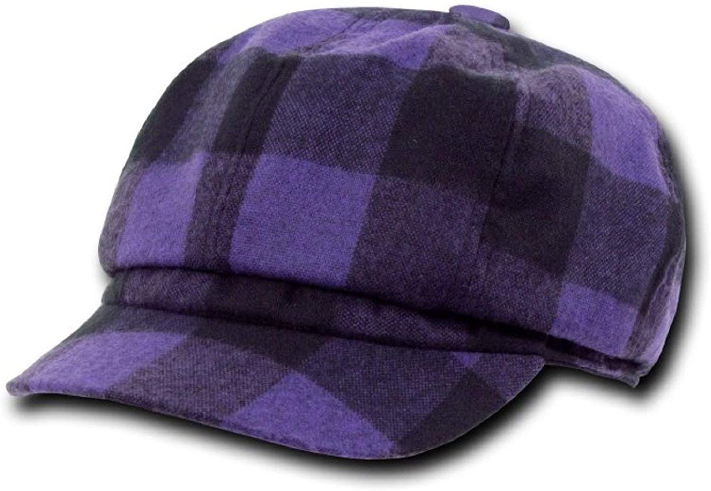 DECKY Original Plaid Newsboy Hats Purple, L/XL